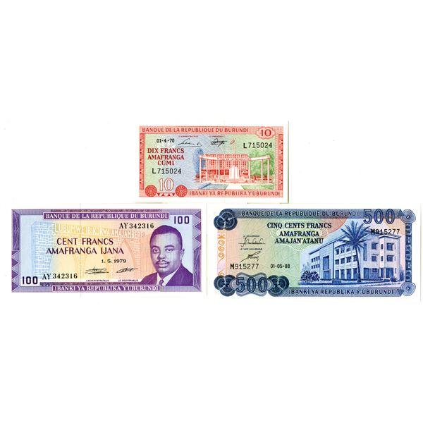 Banque de la Republique du Burundi Issued Banknote Trio, 1970-88