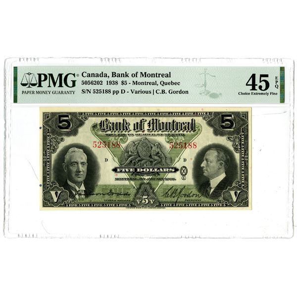 Bank of Montreal, 1938 Issued Banknote