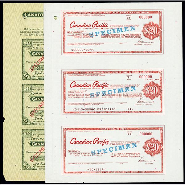 Canadian Pacific Express Co., 1953-1963 Travelers Check Pair