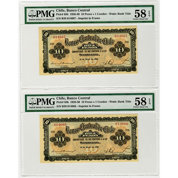 Banco Central de Chile. 1928. Issued Banknote Sequential Pair.