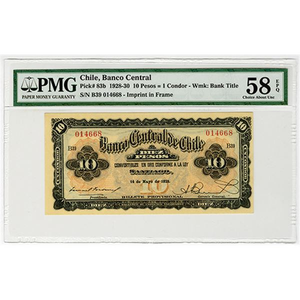 Banco Central de Chile. 1928. Issued Banknote.