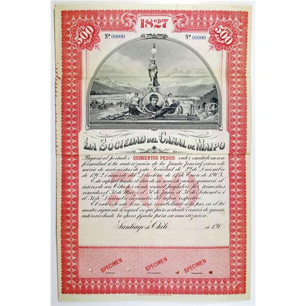 La Sociedad del Canal de Maipo, 190x (1900's) Specimen Bond
