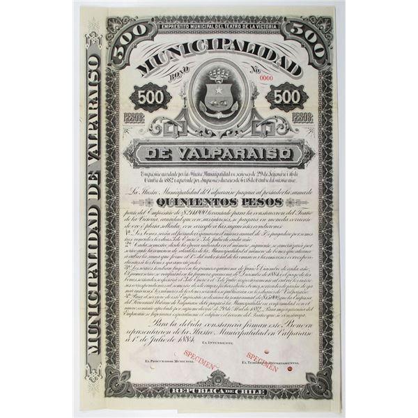 Municipalidad de Valpraiso 1884 Specimen Bond