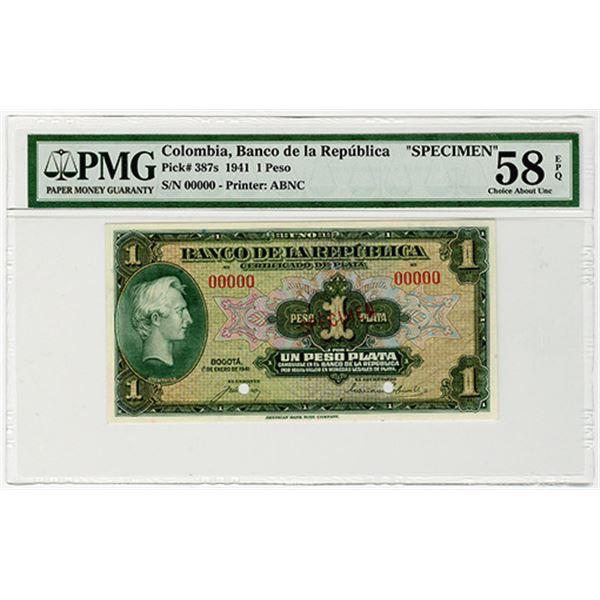 Banco de la Republica. 1941. Specimen Banknote.
