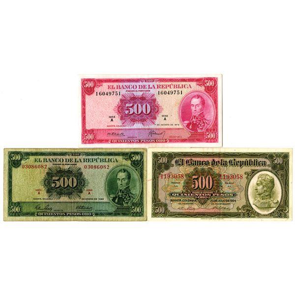 Banco de la Republica Issued Banknote Trio, 1964-73
