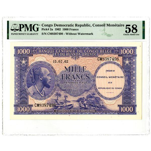 Banque Centrale du Congo Belge et du Ruanda-Urundi, 1962 Issued Banknote