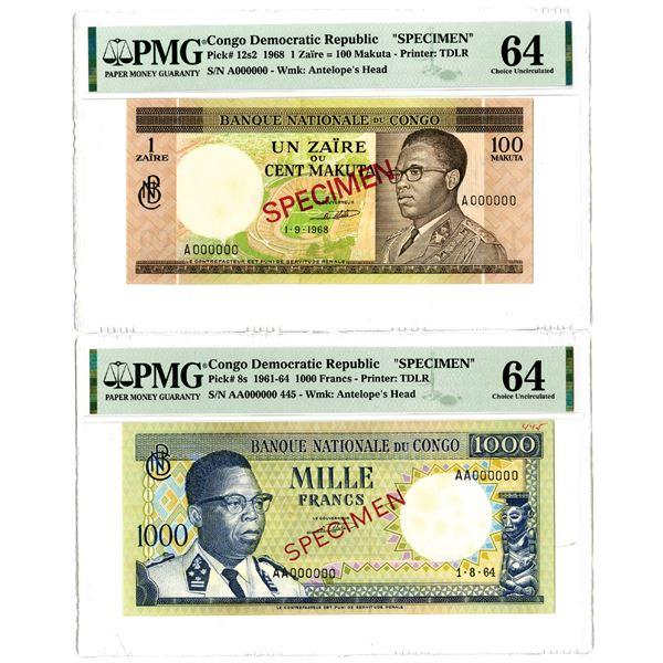 Banque Nationale du Congo Specimen Banknote Pair, ca. 1960s