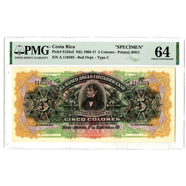 El Banco Anglo Costarricense, ND ; 1903-17 Specimen Banknote