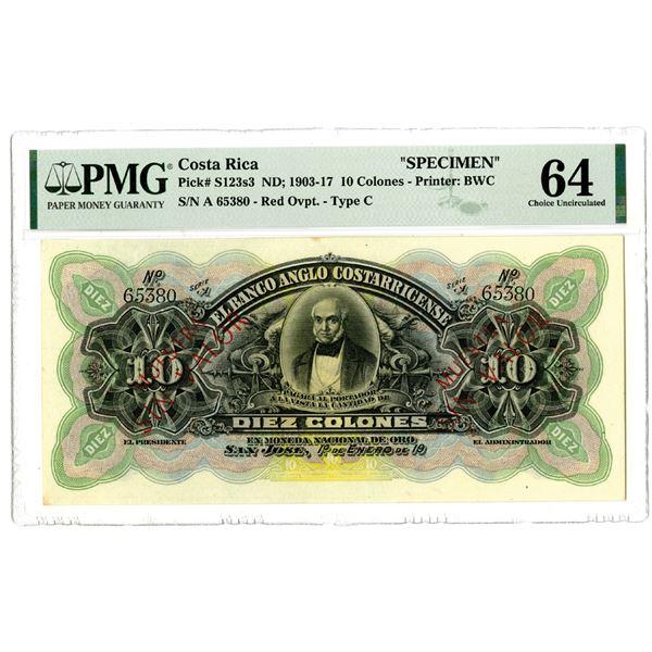 El Banco Anglo Costarricense, ND; 1903-17 Specimen Banknote