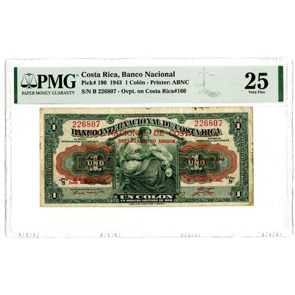Banco Nacional de Costa Rica, 1943 Issued Banknote
