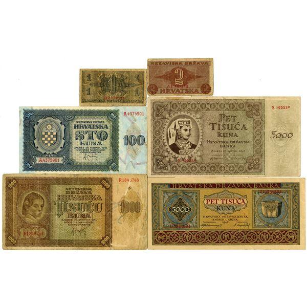 Croatia Issued Banknote Assortment, ca. 1940s