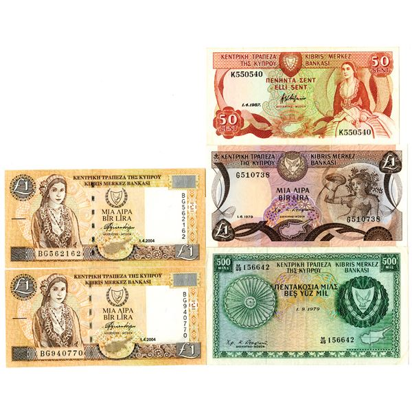 Central Bank of Cyprus Issued Banknote Quintet, ca. 1979-2004