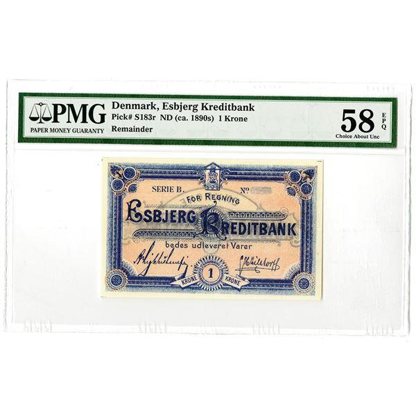 Esbjerg Kreditbank. ND (ca. 1890s). Issued Banknote.