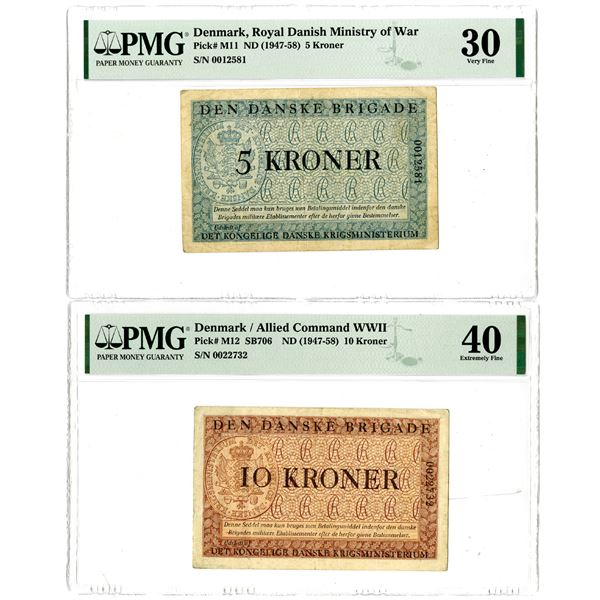Denmark, Royal Danish Ministry of War, Pair of Issued Banknotes, ND (1947-58)