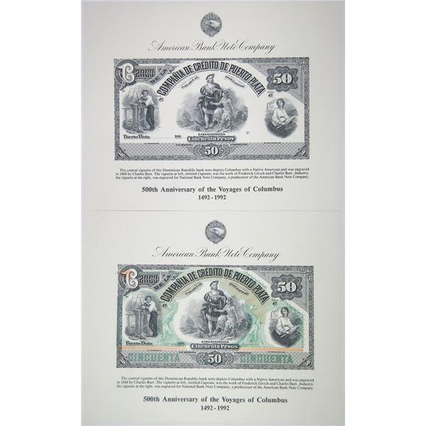 ABNC 1992 Centennial of 500th Anniversary of the Voyages of Columbus. 50 Pesos Reprint Souvenir Pair