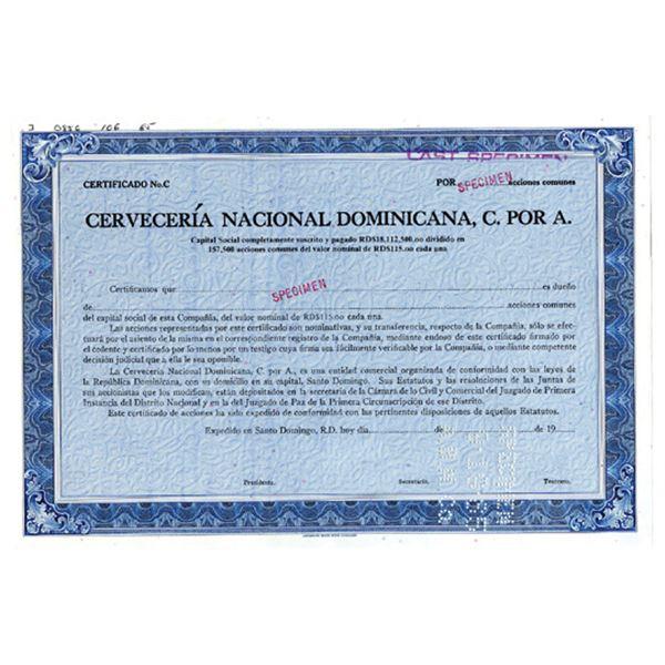Cerveceria Nacional Dominicana, C. Por A., 1985 Specimen Stock Certificate