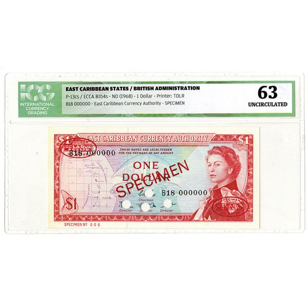East Caribbean Currency Authority. ND (1968). Specimen Banknote.
