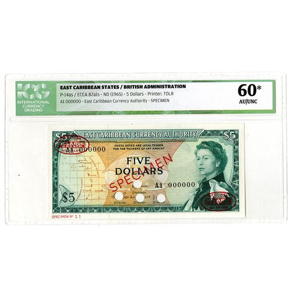 East Caribbean Currency Authority. ND (1965). Specimen Banknote.