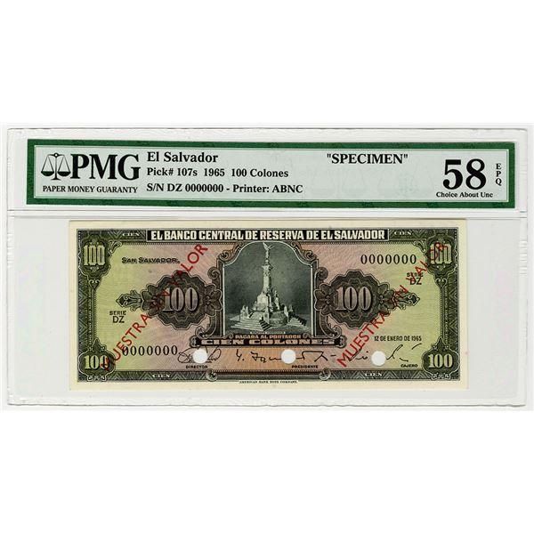 Banco Central de Reserva de El Salvador. 1965. Specimen Banknote.