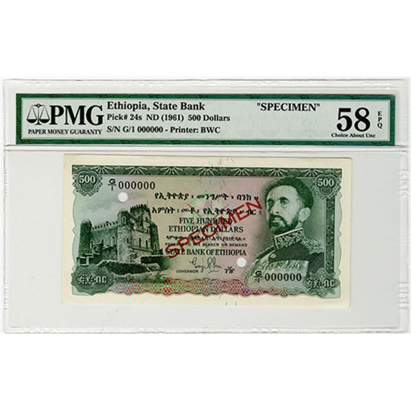 State Bank of Ethiopia. ND (1961). Specimen Banknote.