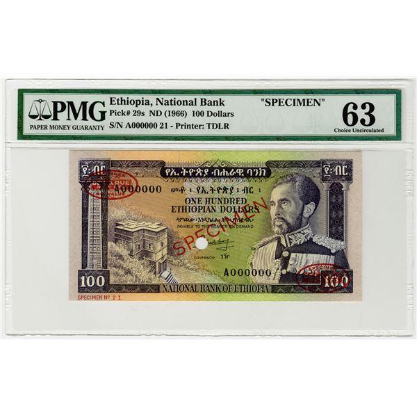 National Bank of Ethiopia. ND (1966). Specimen Banknote.