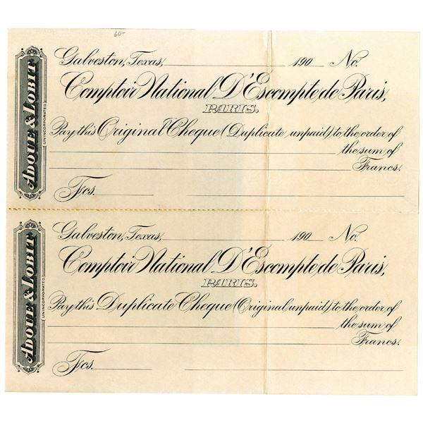 Comptor National d'Escompte de Paris Uncut Proof Check Pair, ca. 1900s