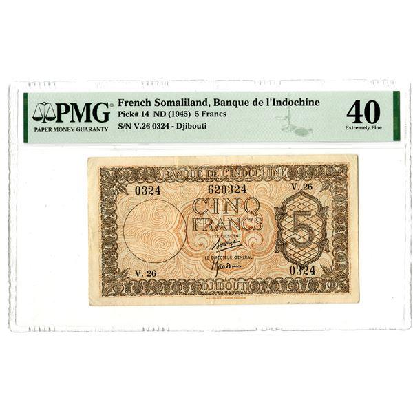 Banque de l'Indochine, ND (1945) Issued Banknote