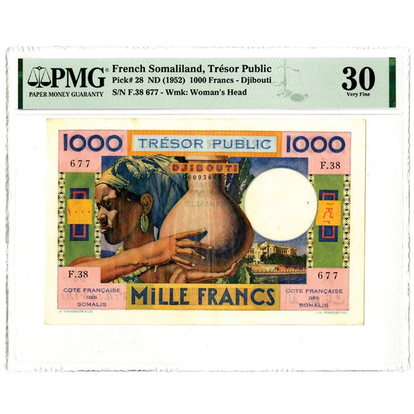 French Somaliland, Tresor Public, ND (1952) Issued Banknote