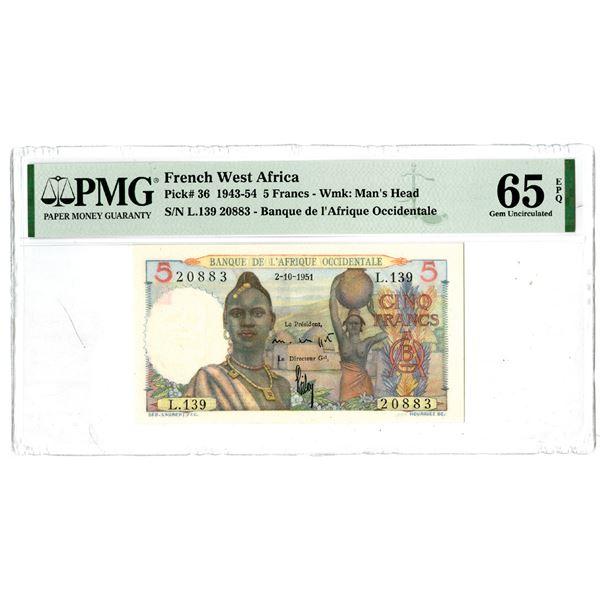 Banque de l'Afrique Occidentale, 1943-54 Issued Banknote