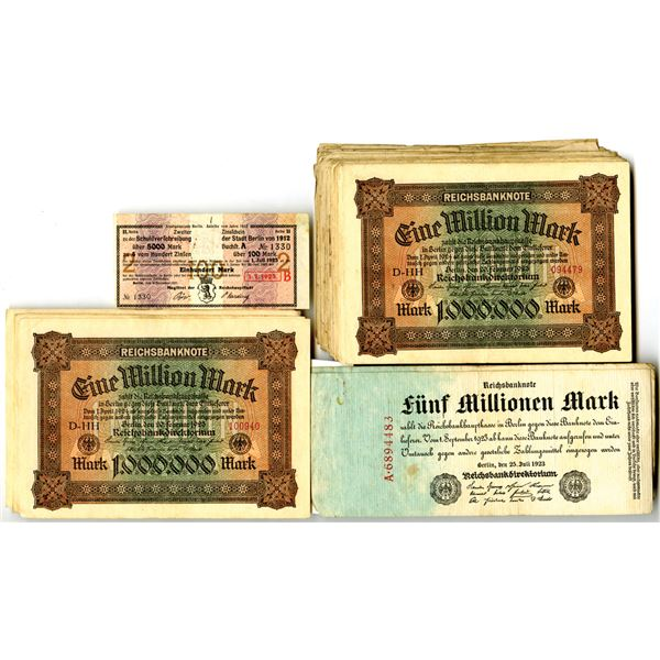 German Banknote Assortment, ca.1910 to 1923.