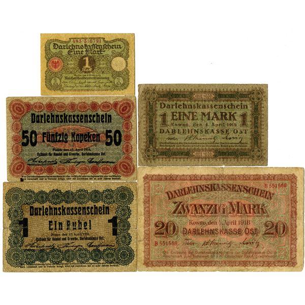 German Banknote Quintet, ca. 1916-20