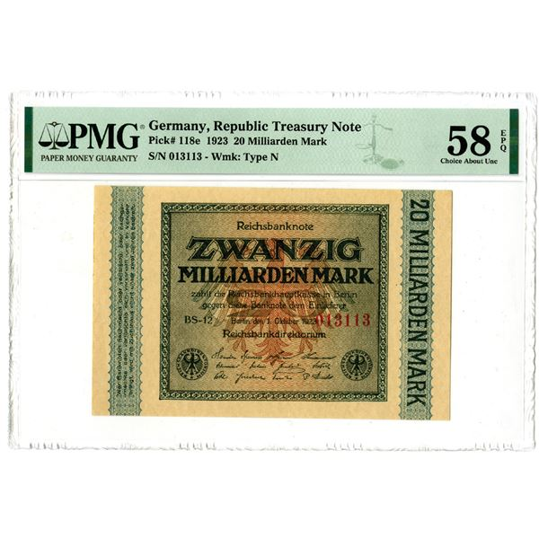 Republic Treasury Note, 1923 Issued Banknote