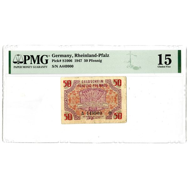 Rheinland-Pfalz, 1947 Fractional Currency Issued Note