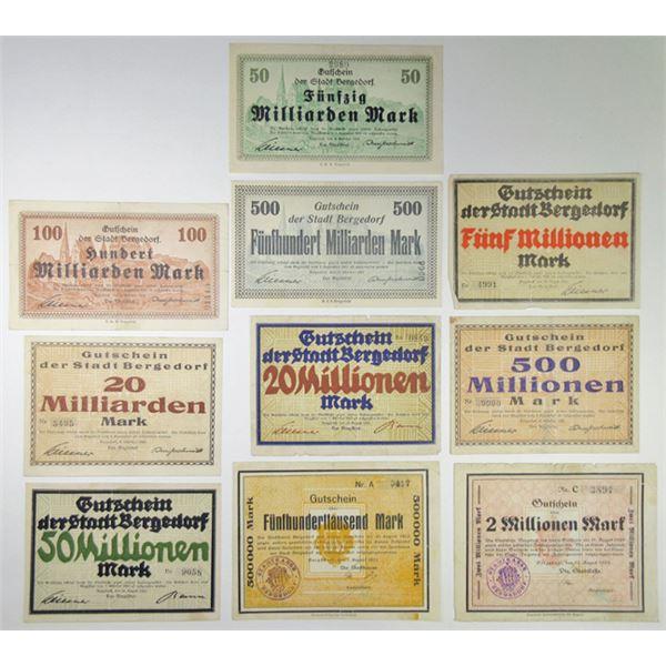 Bergedorf. 1923. Group of 10 Issued Notgeld.