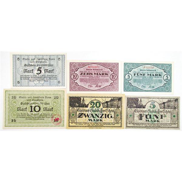 Bonn und Siegkreis, KÙstrin, & Mosbach. 1918. Lot of 6 Issued Notgeld Notes.