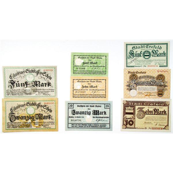 Crefeld, Mainz, & KÙstrin. 1918. Lot of 8 Issued Notgeld Scrip Notes.