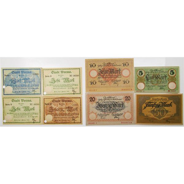 Dresden & Worms. 1918. Lot of 8 Issued Emergency Notgeld Banknotes.