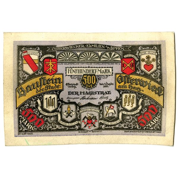 P_¤neck. 1922. Issued Leather Notgeld Note.