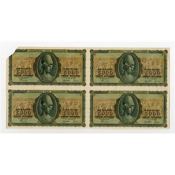 Bank of Greece, 1943 Specimen/Proof Uncut Block of 4 Banknotes.