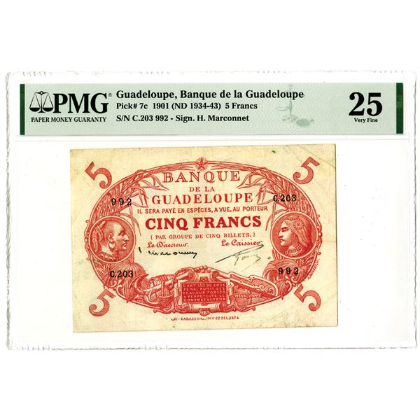 Banque de la Guadeloupe, 1901 (ND 1934-43) Issued Banknote