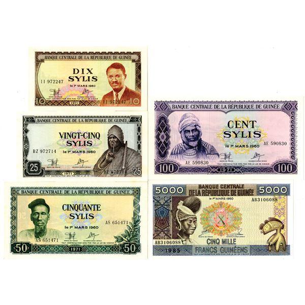 Banque Centrale de la Republique de Guinee Issued Banknote Quintet, 1971-85