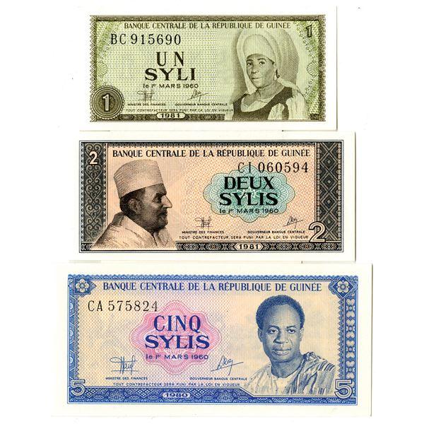 Banque Centrale de la Republique de Guinee Issued Banknote Assortment, 1980-81