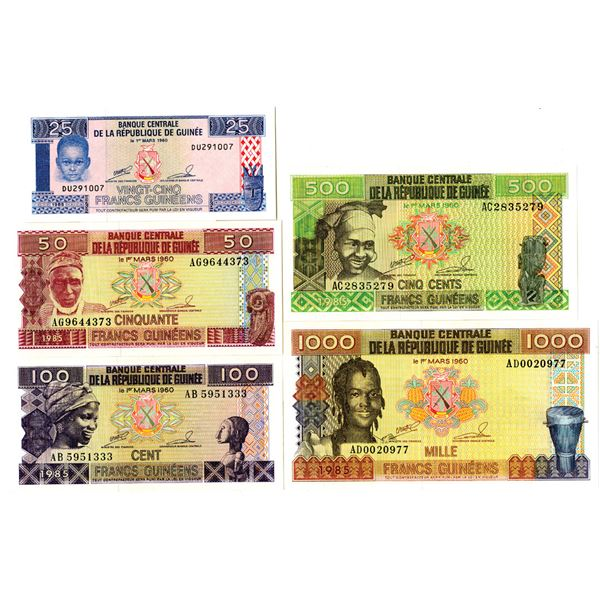 Banque Centrale de la Republique de Guinee Issued Banknote Quintet, 1985