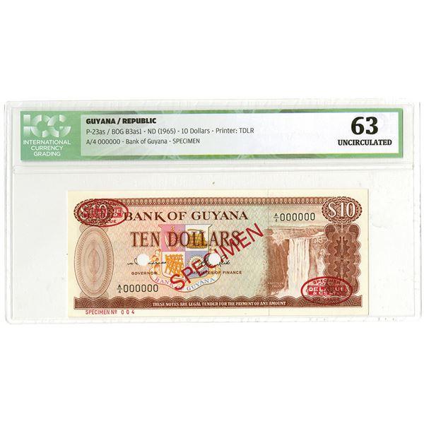 Bank of Guyana. ND (1965). Specimen Banknote.