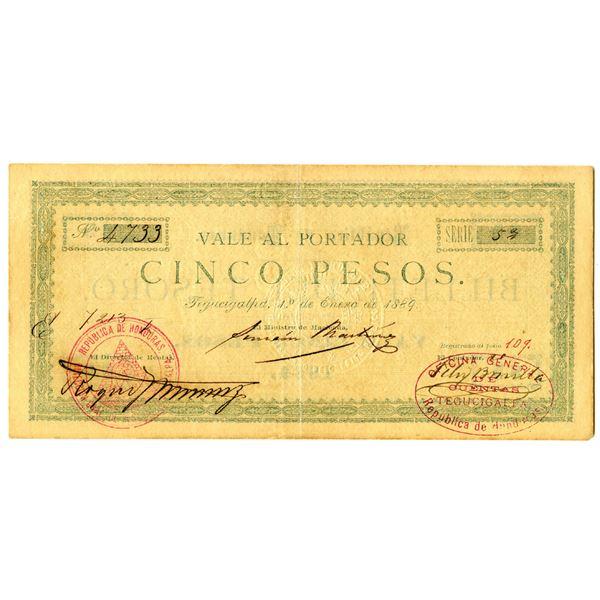 Vale al Portador, Billete del Tesoro, 1889 Issue Banknote Rarity.