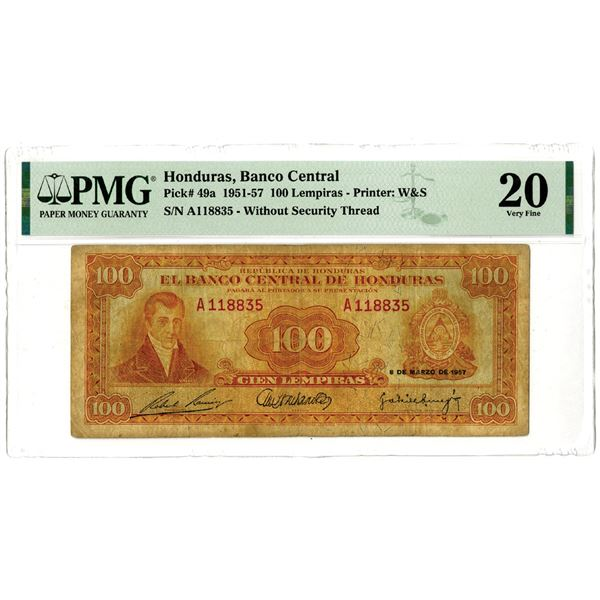 Banco Central de Honduras, 1951-57 Issued Banknote