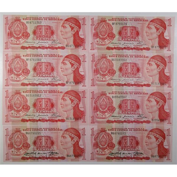 Honduras. Banco Central de Honduras. 1980 to 1998 Group of 80+ Issued 1 Lempira Banknotes, Mostly Ch