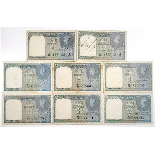 Government of India. 1940. Lot of 8 Issued Notes.