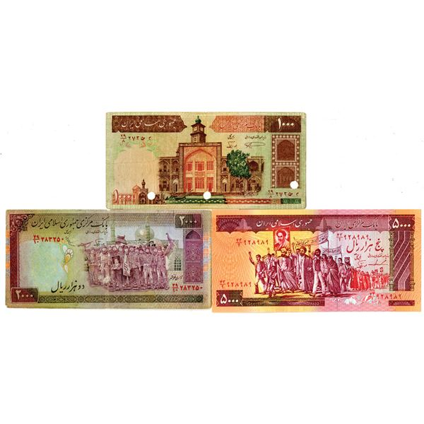 Bank Markazi Iran. ND (1981). Lot of 3 Issued Notes.