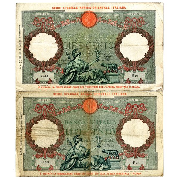 Banca d'Italia. 1938. Lot of 2 Issued Notes.